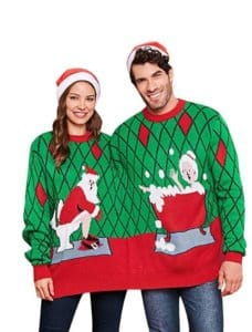CharMma Crew Neck Long Sleeve Two Person Knit Pullover Ugly Christmas Sweater $29.99