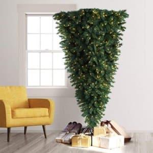 Treetopia Knocked Upside Down Artificial Christmas Tree, 7 Feet, Clear Lights