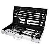 BBQ Masters 19 Piece Professional BBQ Grill Tools and Accessories Set with Storage Case