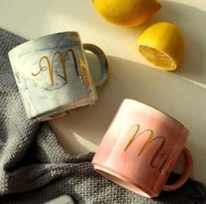 Luspan Mr and Mrs Couples Coffee Mugs - Unique Wedding Gift for Bride and Groom - Gift for Bridal Shower Engagement Wedding and Married Couples - Ceramic Marble Cups 13 oz (Grey and Pink)