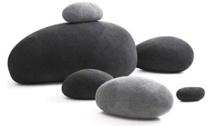 Roll over image to zoom in VERCART Huge Living Stones Pillows Big Rock Pillows New Pebble Pillows PRE-Filled with Mixed Sizes 6Pcs/Set Dark Grey Mix Color
