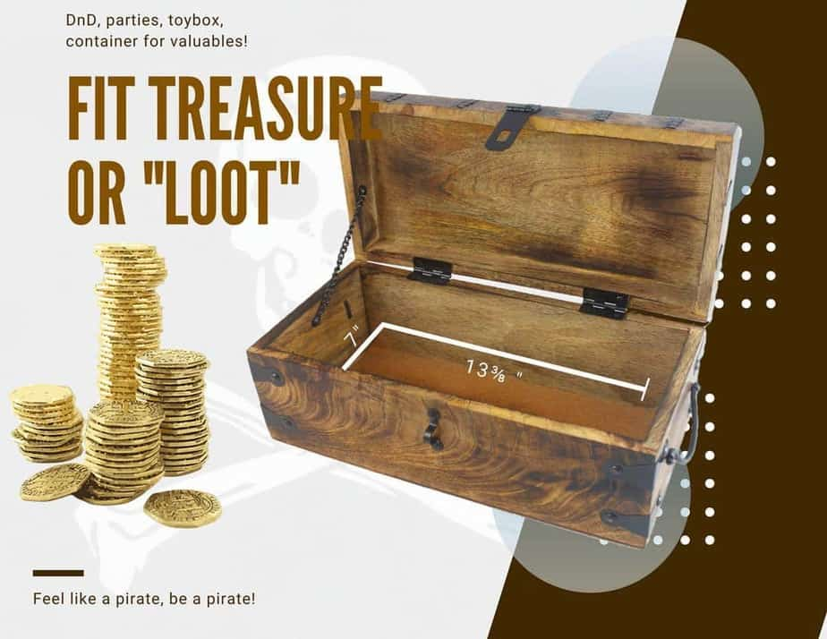 Wooden Pirate Treasure Chest Box 17 x 10 x 8 Fits a lot of loot