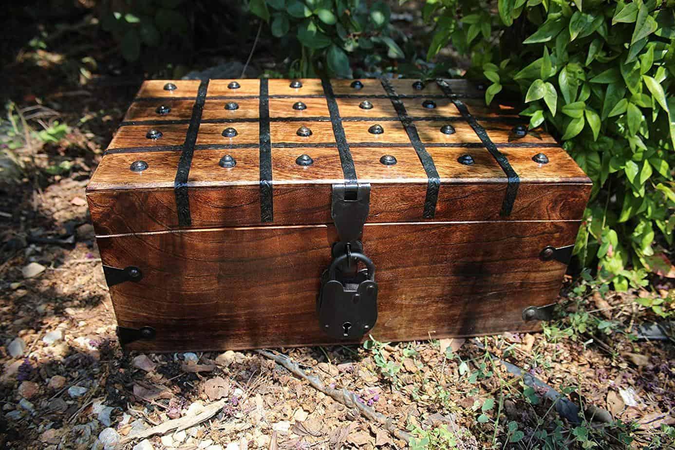 Wooden Pirate Treasure Chest Box