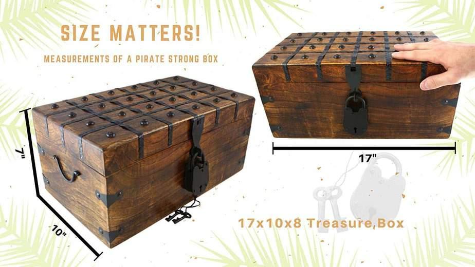 Wooden Pirate Treasure Chest Box 17 x 10 x 8