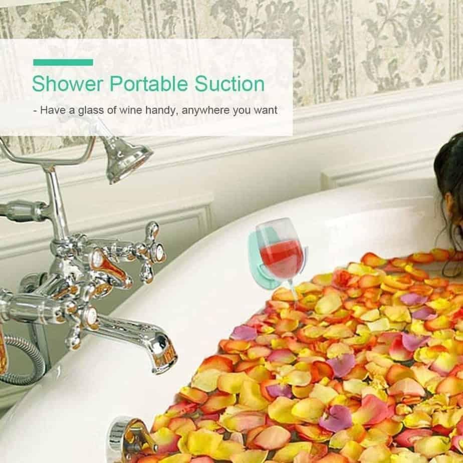 Gotega Wine Glass Holder Shower & Bath Suction Cup Wine Gifts