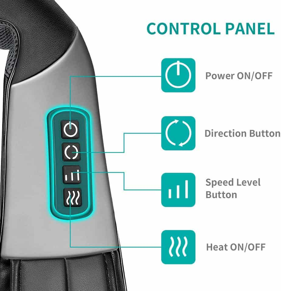 Shiatsu Neck and Back Massager with Soothing Heat, Nekteck Electric Deep Tissue 3D Kneading Massage Pillow