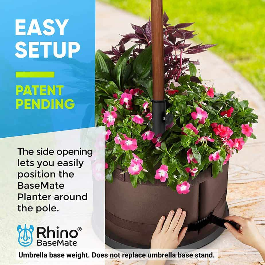BaseMate The Original Rhino Patio Umbrella Base Weight Planter - Easy Setup