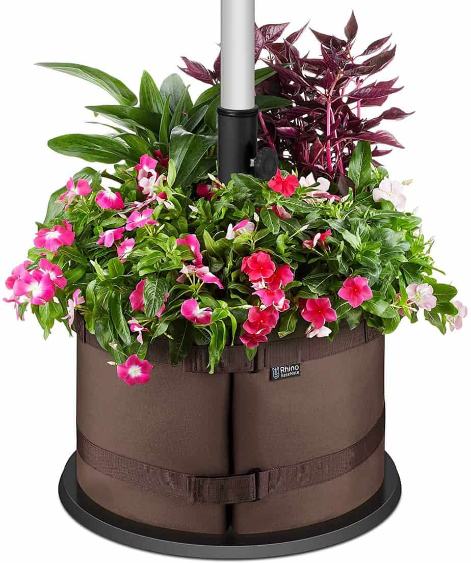 BaseMate The Original Rhino Patio Umbrella Base Weight Planter - - Premium Windproof Garden Planters Weight Secures Safety & Adds Beauty - Non-Woven Grow Bag Fabric Pot. [18 inch] (Brown)