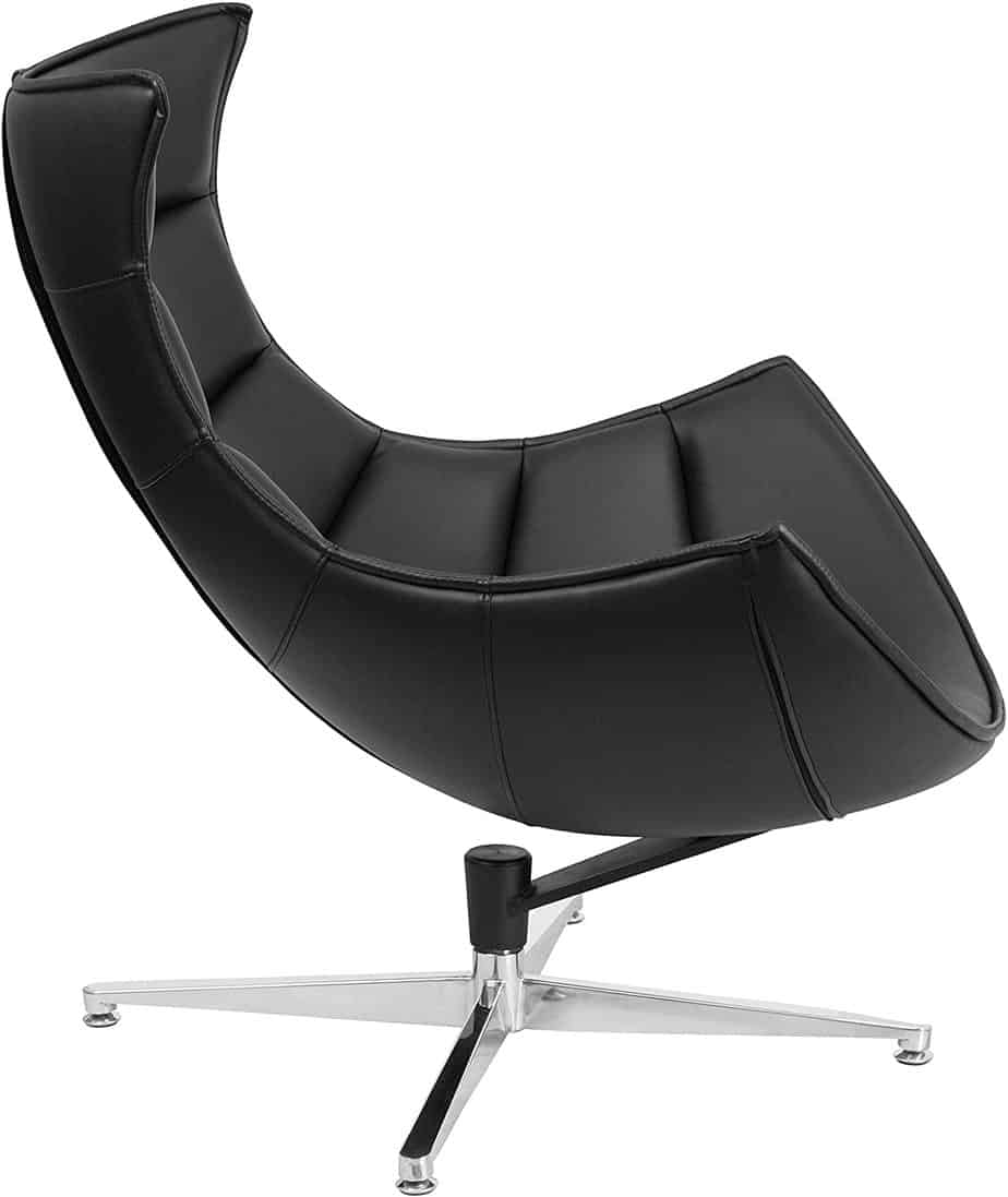 Flash Furniture Melrose White Leather Swivel Cocoon Chair