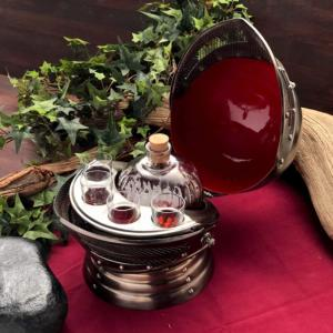 Windlass Handmade Medieval Knight's Helmet Caddy Decanter Drinking Set - Bottle and Shot Glasses