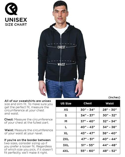 Reversible Backpack Hoodie Size Chart