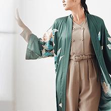 Charmeuse Kimono Robes Long Green
