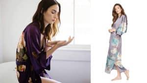 Women's Charmeuse Kimono Robe Purple