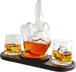 The Wine Savant's Middle Finger Decanter is a great gift idea for the man cave and people that like to drink or flip people off! Buy it on Amazon!