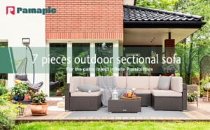Pamapic 7 Pieces Outdoor Sectional, Wicker Patio Sectional Sofa Conversation Set, Rattan Sofa with Coffee Table and Washable Cushions Covers, Brown Rattan(Beige Cushions)